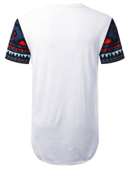 WHITE Eagle Aztec Graphic Longline T-shirt - URBANCREWS
