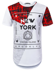 WHITE New York Colorblock Longline T-shirt - URBANCREWS