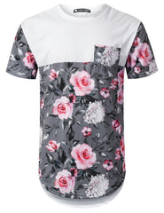 WHITE Pink Rose Panel Pocket Longline T-shirt - URBANCREWS