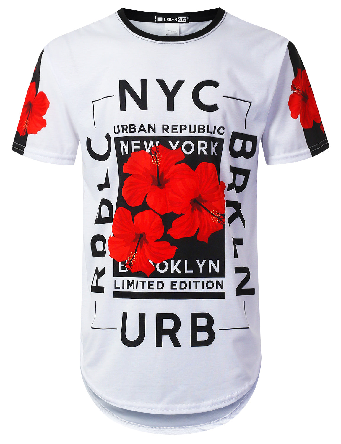 WHITE NYC Rose Floral Longline T-shirt - URBANCREWS