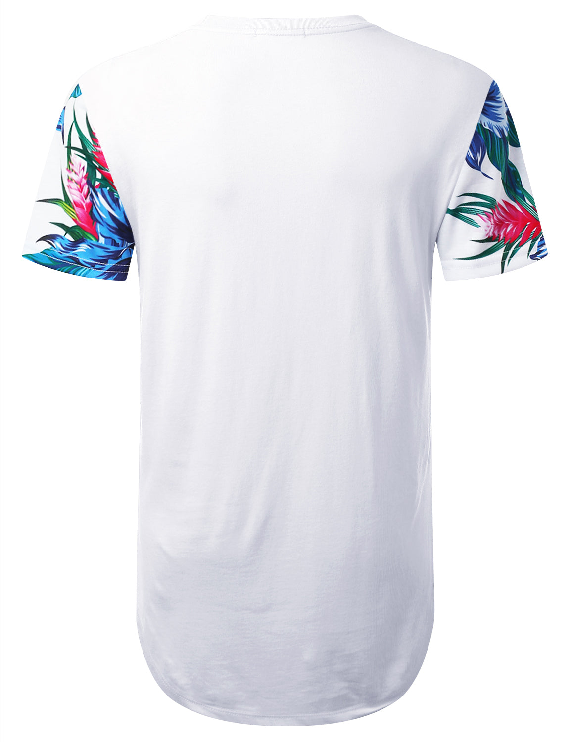 WHITE LA NY Blue Floral Longline T-shirt - URBANCREWS