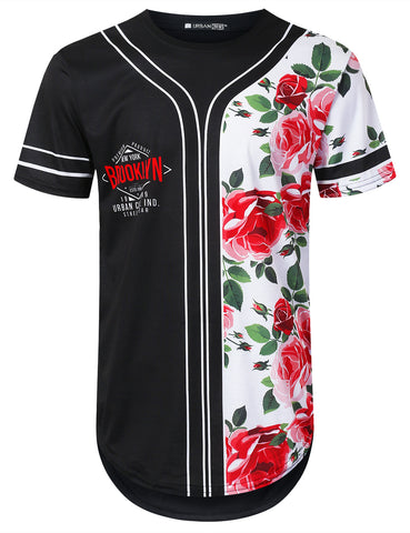 Rose Panel Graphic Longline T-shirt
