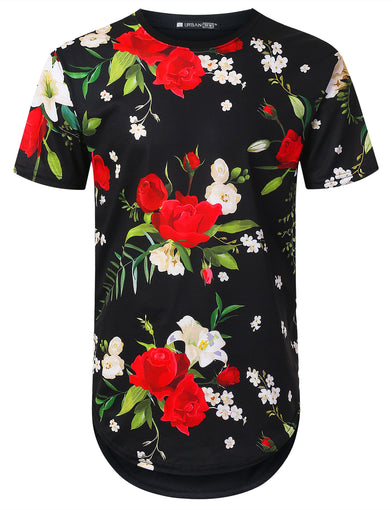 White Red Rose Floral Longline T-shirt