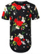 BLACK White Red Rose Floral Longline T-shirt - URBANCREWS