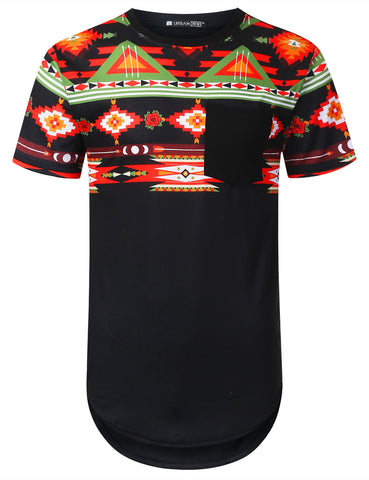 Aztec Upper Panel Longline T-shirt