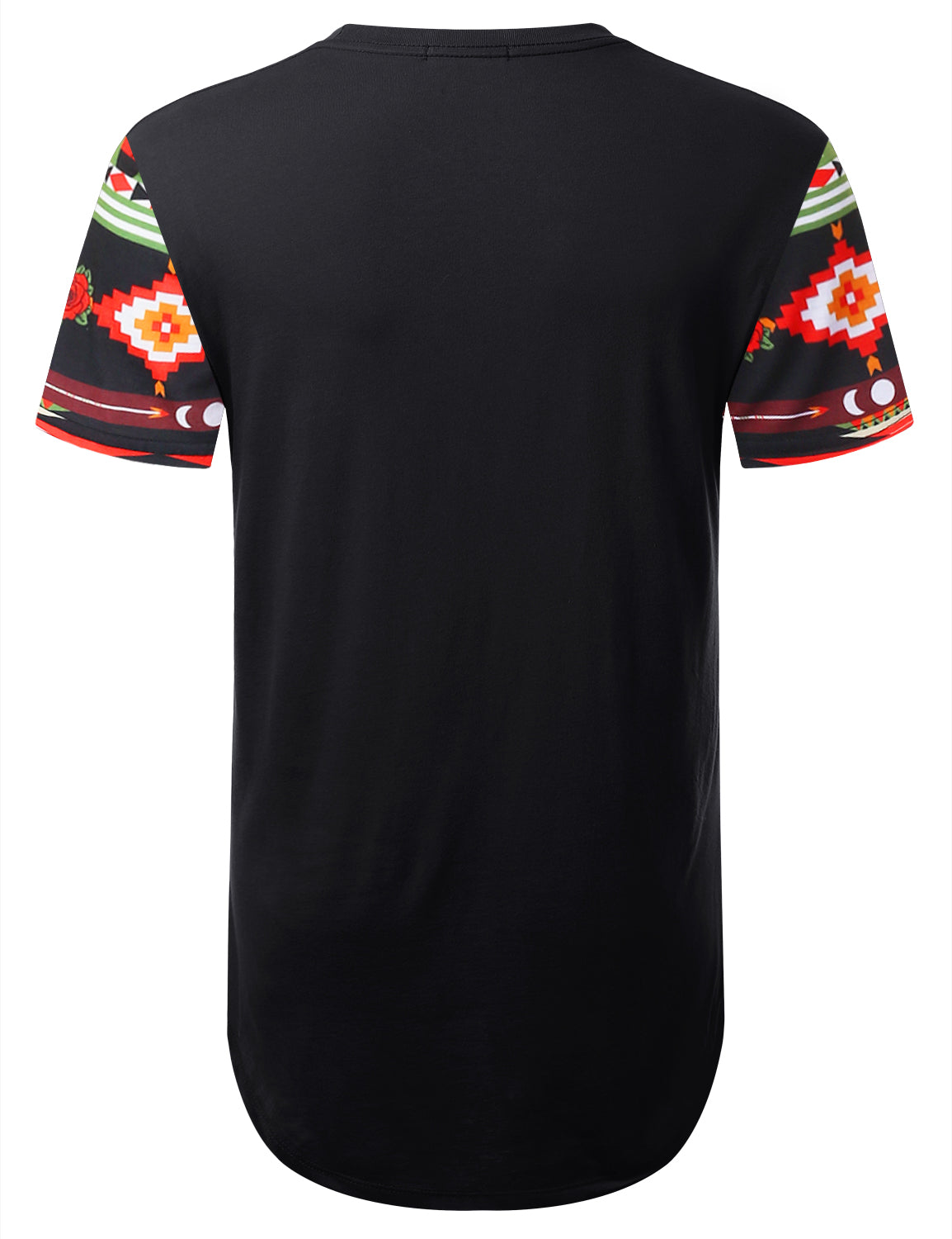 BLACK Aztec Upper Panel Longline T-shirt - URBANCREWS