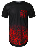 BLACK Rose Graphic Pocket Longline T-shirt - URBANCREWS
