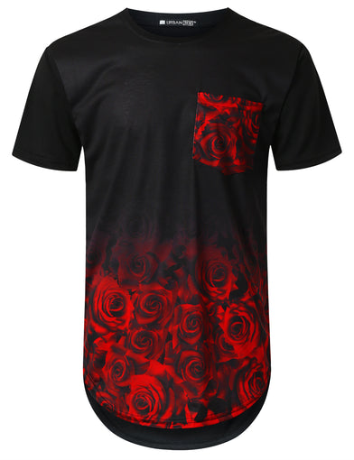 Rose Graphic Pocket Longline T-shirt