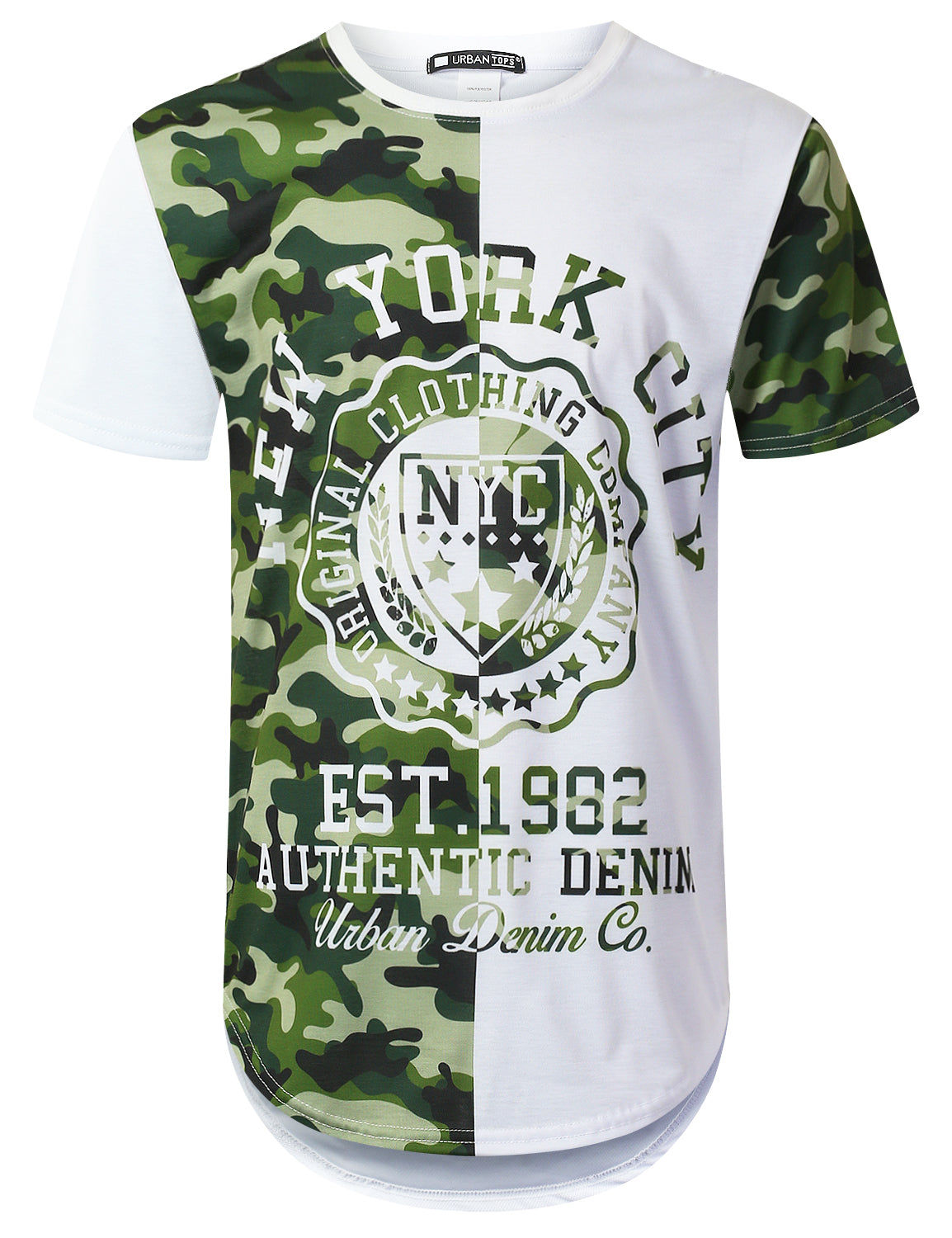 WHITE Half Panel Camouflage Longline T-shirt - URBANCREWS
