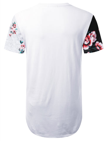 Color Block Floral Longline T-shirt