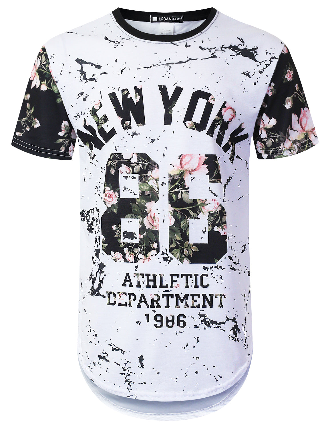 WHITE New York 86 Floral Longline T-shirt - URBANCREWS