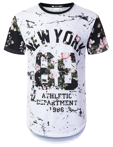 New York 86 Floral Longline T-shirt