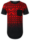 RED Aztec Graphic Pocket Longline T-shirt - URBANCREWS