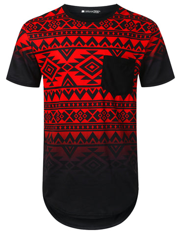 Aztec Graphic Pocket Longline T-shirt