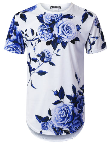 Big Blue Rose Floral Longline T-shirt