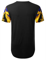 BLACK Gold Wave Dashiki Longline T-shirt - URBANCREWS