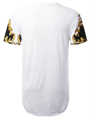 WHITE Luxury Dashiki Longline T-shirt - URBANCREWS