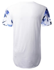 WHITE Gradient Floral Longline T-shirt - URBANCREWS