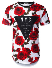 WHITE Triangle Rose Floral Longline T-shirt - URBANCREWS