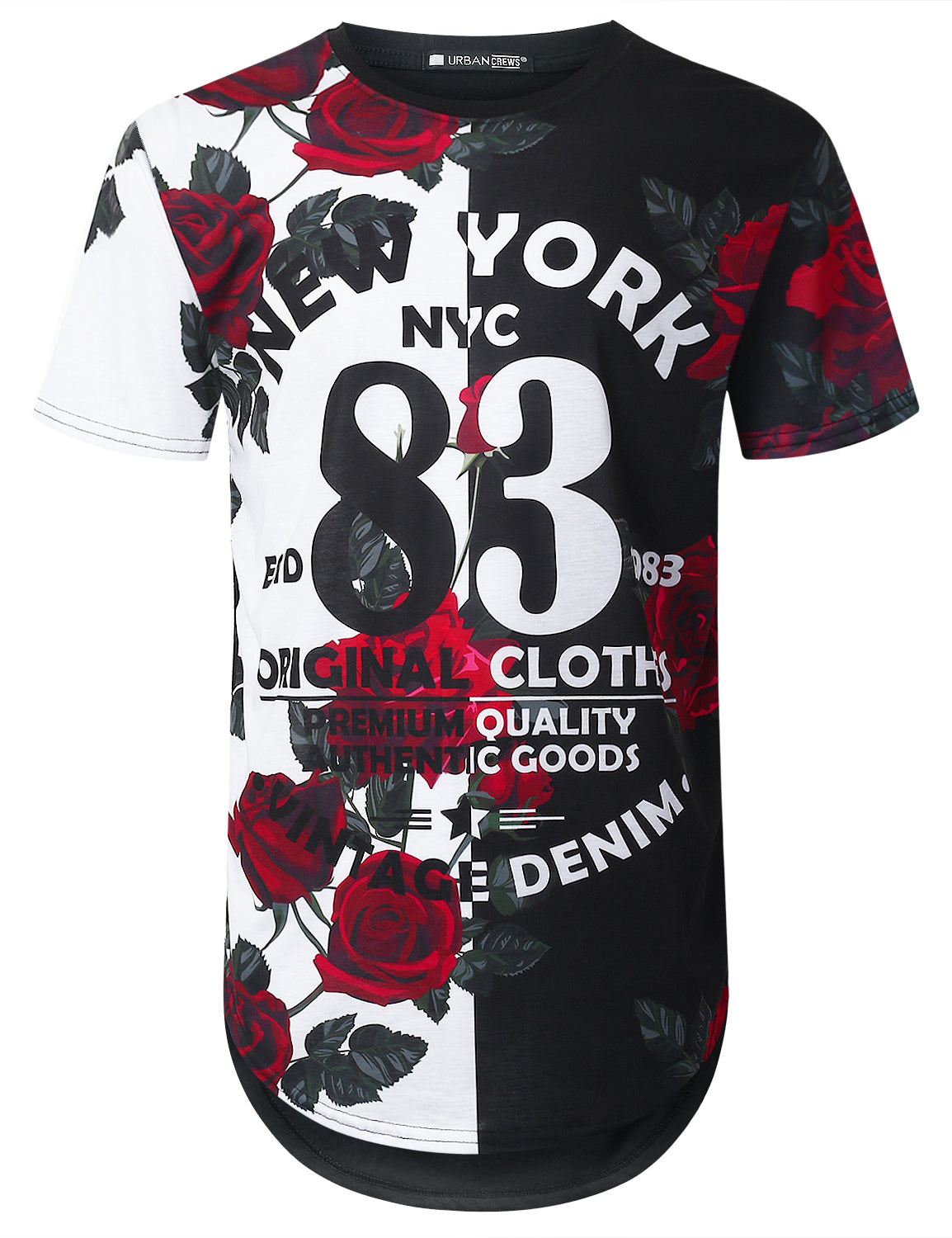 BLACK NYC 83 Rose Floral Longline T-shirt - URBANCREWS