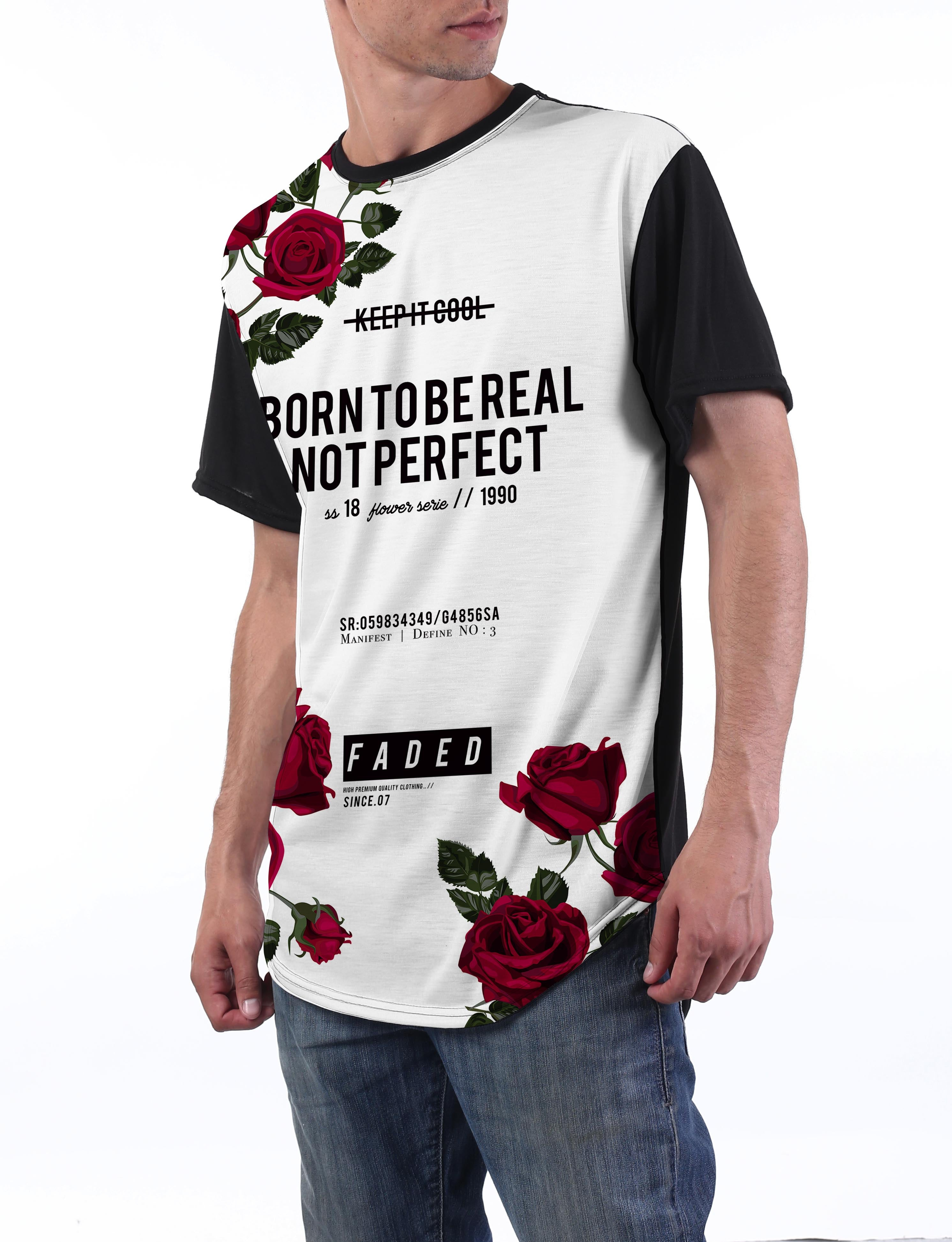 BLACK Words Rose Floral Longline T-shirt - URBANCREWS