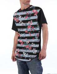 BLACK Striped Floral Longline T-shirt - URBANCREWS