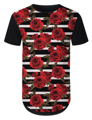 BLACK Red Rose Striped Longline T-shirt - URBANCREWS