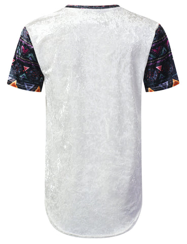 Aztec Patterned Crushed Velvet T-shirt