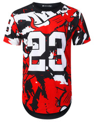 BLACK Cartoon Bulls 23 Longline T-shirt - URBANCREWS