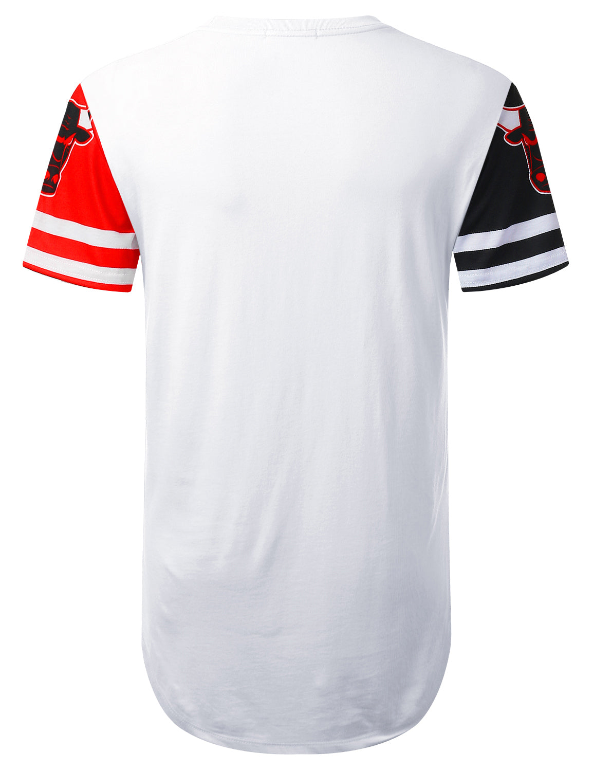 WHITE Panel Bulls Graphic Longline T-shirt - URBANCREWS