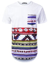 WHITE Painting Aztec Longline T-shirt - URBANCREWS