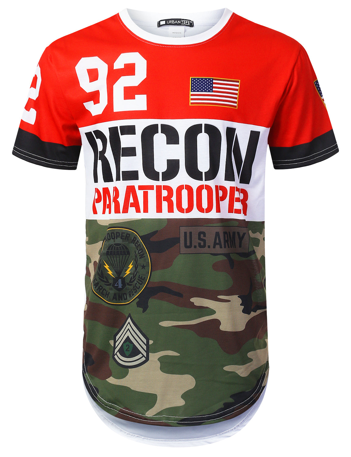 WHITE Recon Camouflage Longline T-shirt - URBANCREWS