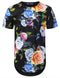 BLACK Spring Rose Floral Longline T-shirt - URBANCREWS