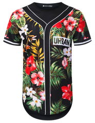 BLACK Forest Floral Jersey Longline T-shirt - URBANCREWS