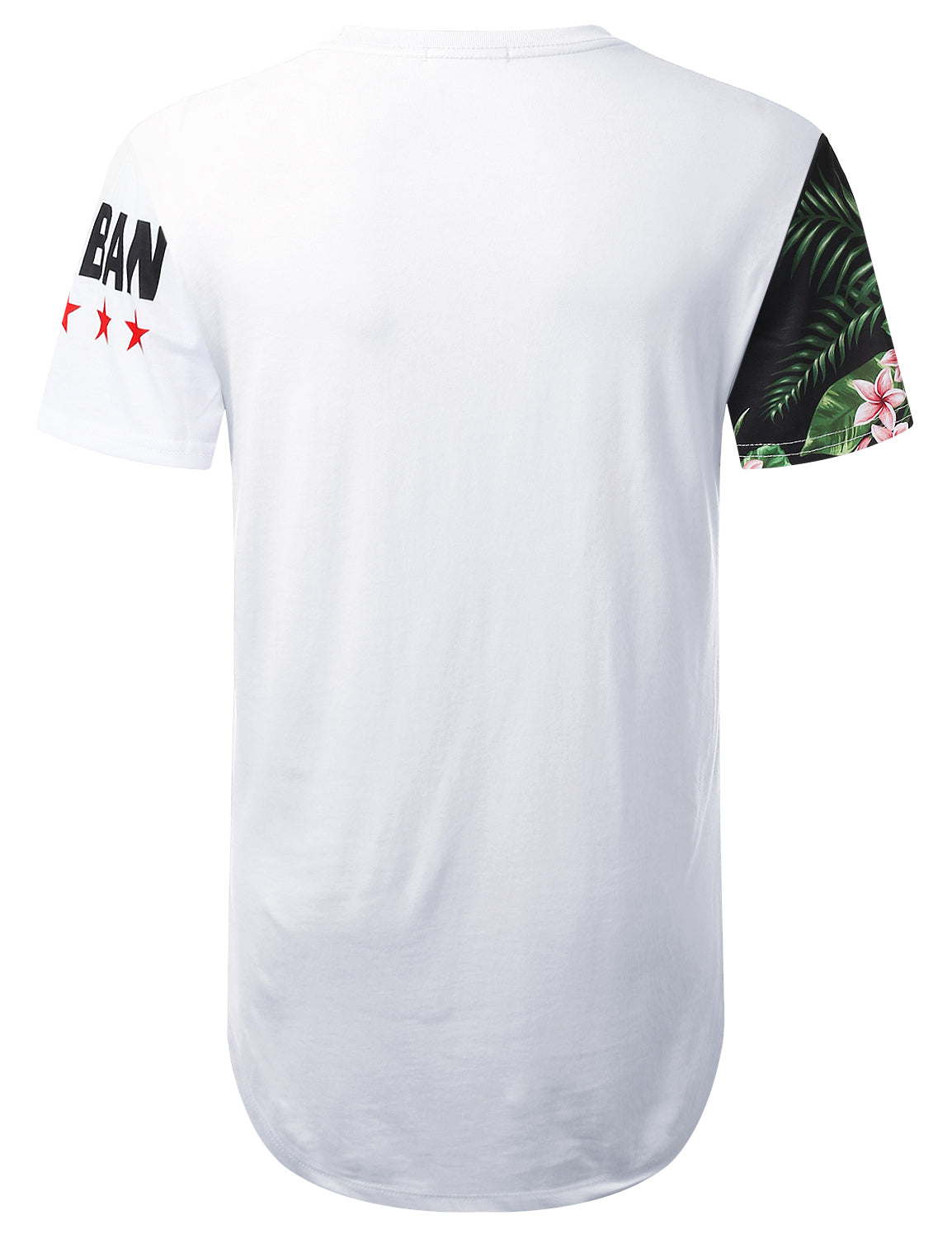 WHITE Urban Vertical Floral Longline T-shirt - URBANCREWS