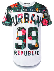 WHITE Urban 99 Panel Floral Longline T-shirt - URBANCREWS
