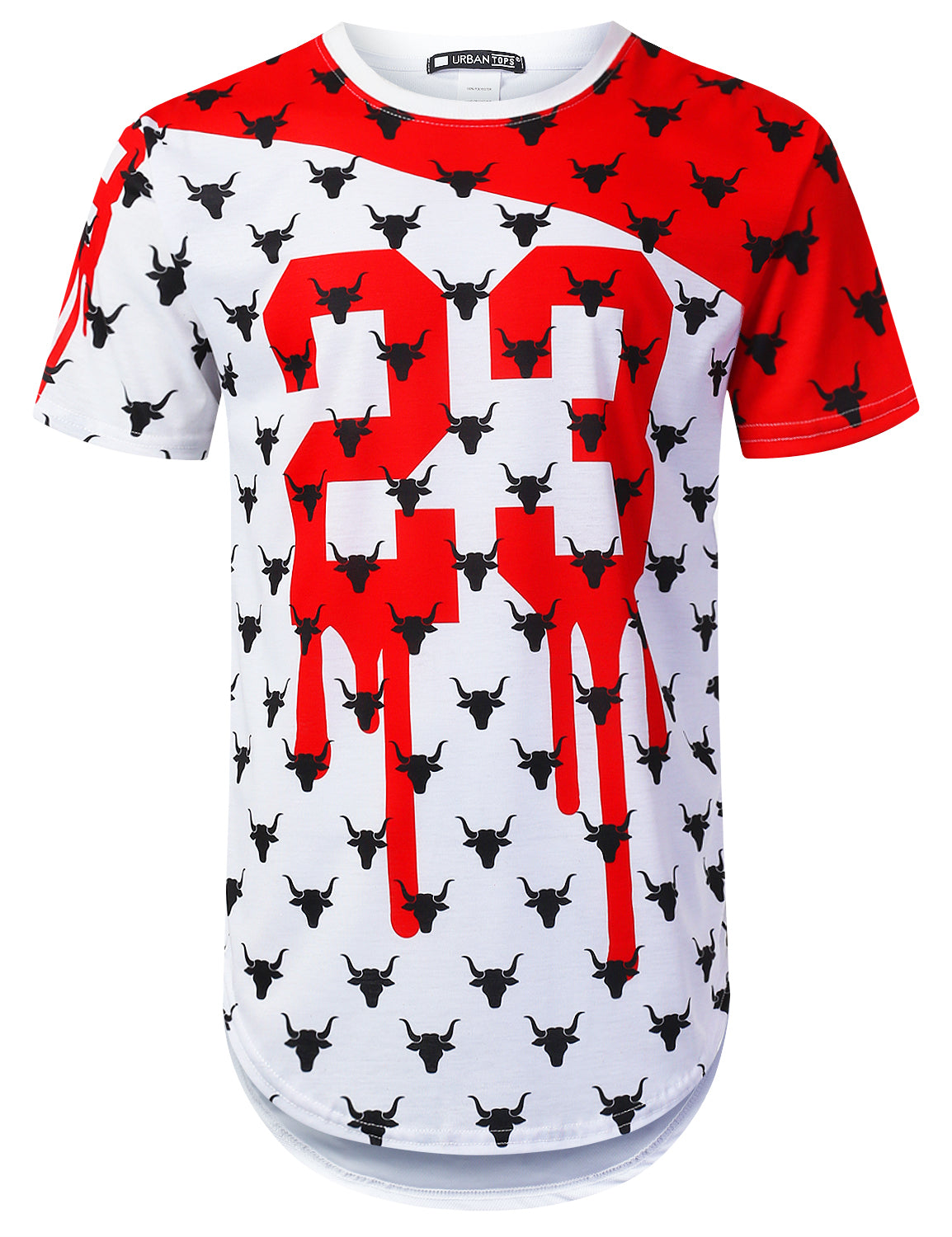 WHITE Patterned Bulls Longline T-shirt - URBANCREWS