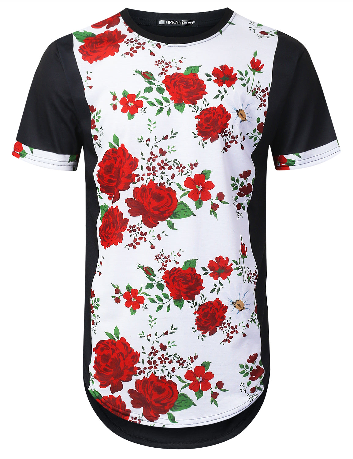 BLACK Vertical Rose Floral Longline T-shirt - URBANCREWS