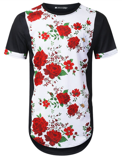 Vertical Rose Floral Longline T-shirt
