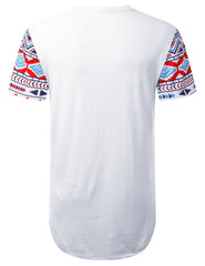 WHITE Cool Aztec Longline T-shirt - URBANCREWS