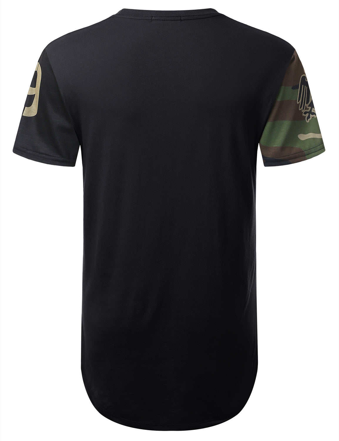 BLACK Fighter Camouflage Longline T-shirt - URBANCREWS