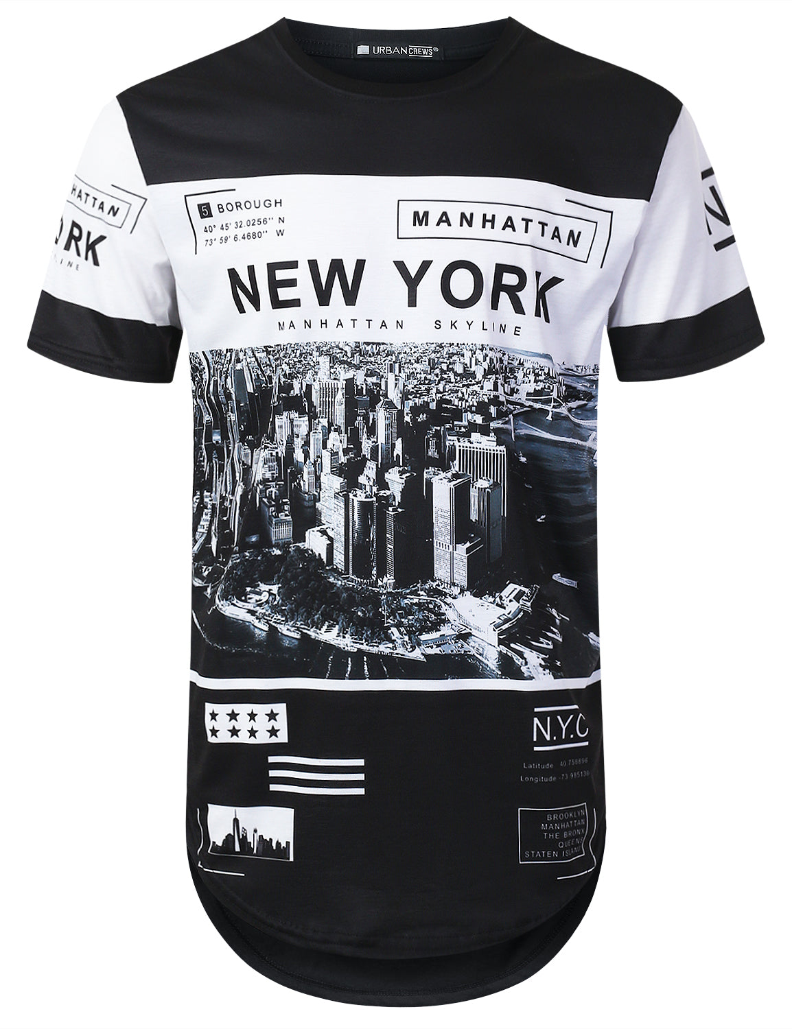 BLACK New York Manhattan Longline T-shirt - URBANCREWS