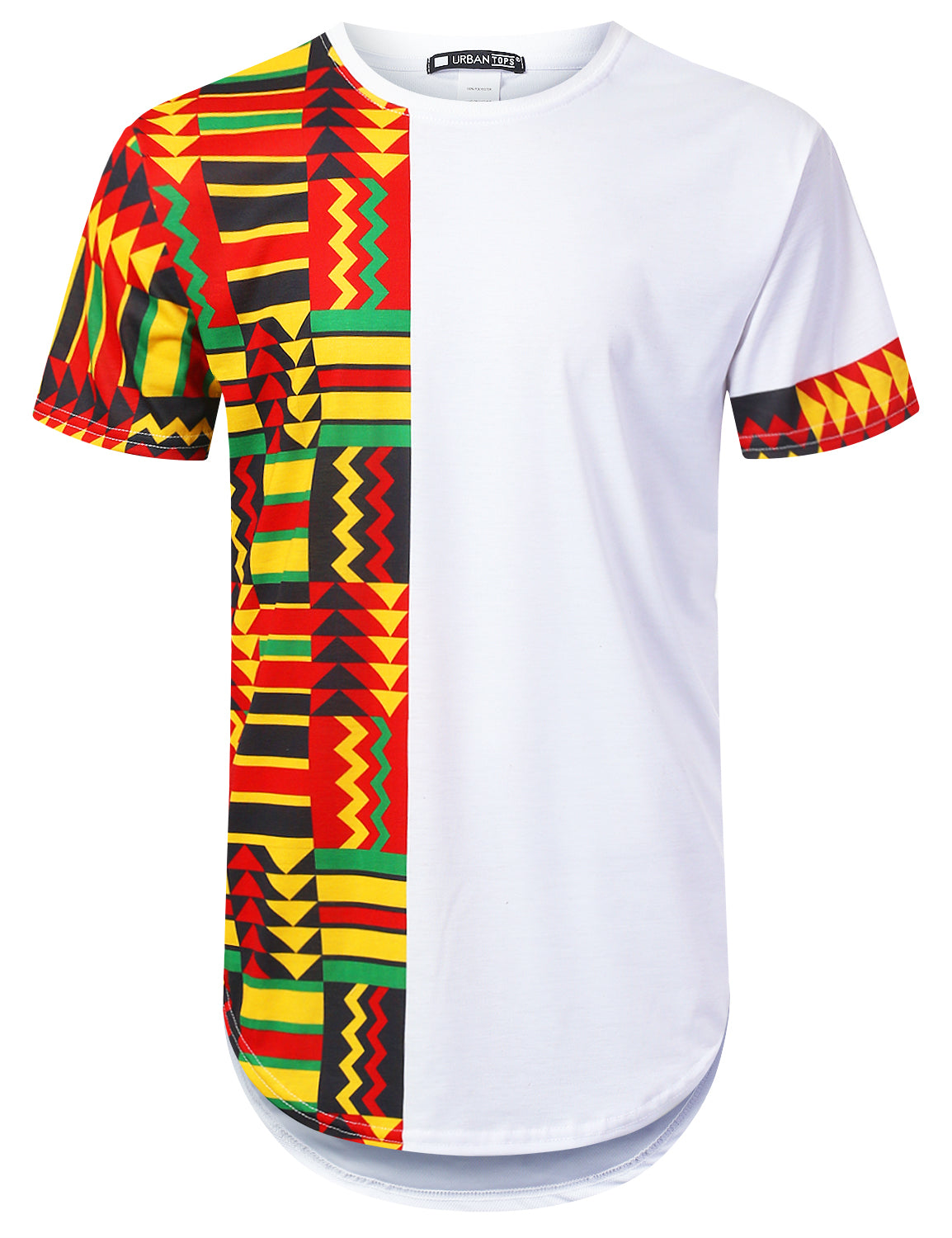 WHITE Half Panel Aztec Longline T-shirt - URBANCREWS