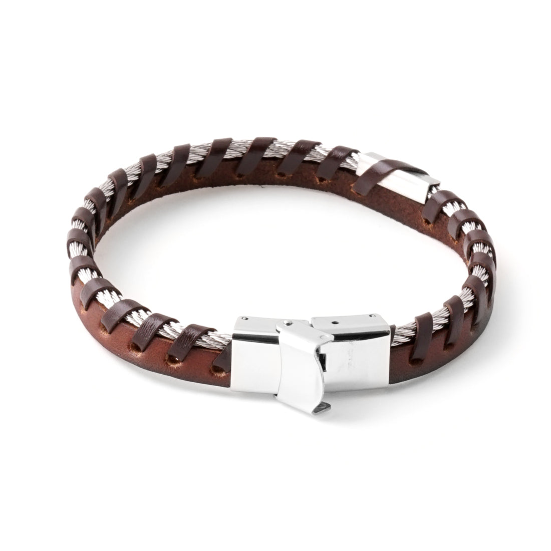 BROWN Stainless Steel Cable Leather Bracelet - URBANCREWS