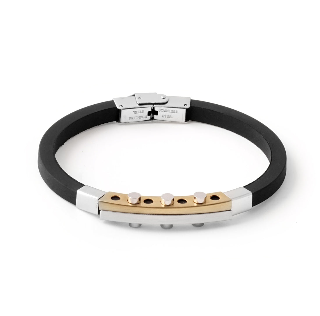 BLACK Gold PVD Rubber Bracelet - URBANCREWS