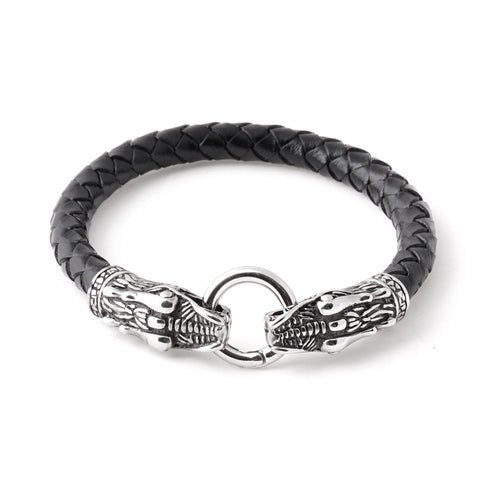 Dragon Head Braided Leather Bracelet