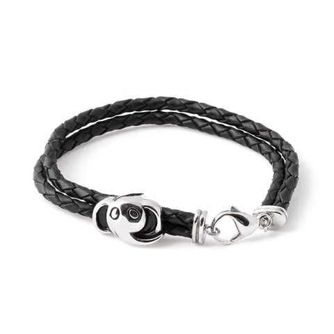 Elephant Charm Braided Leather Bracelet
