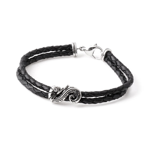 Seahorse Charm Braided Leather Bracelet