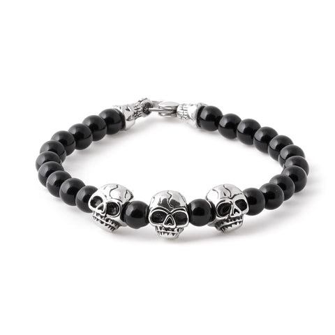 Stainless Steel Skull Beaded Bracelet