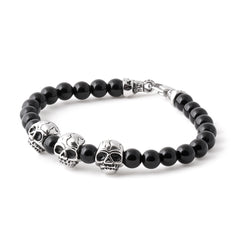 BLACK Stainless Steel Skull Beaded Bracelet - URBANCREWS
